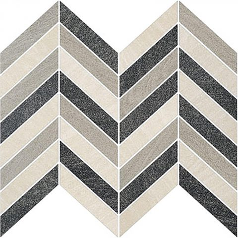 Brave Chevron Mosaic Ivory, Light Grey, Dark Grey