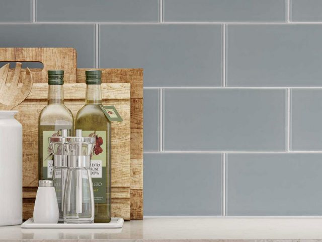 Cosmopolitan Glass Subway Tile Collection - Grey Installation