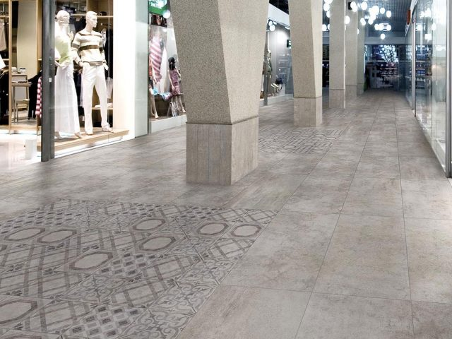 Facade Stained Concrete-Look Grey Porcelain Tile Installation