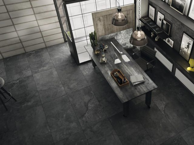 Indurate Collection in Black Porcelain Tile Installation