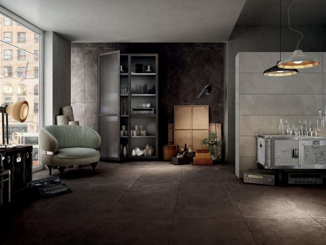Ithaca Leather-Look Porcelain Tile Collection in Brown Tile