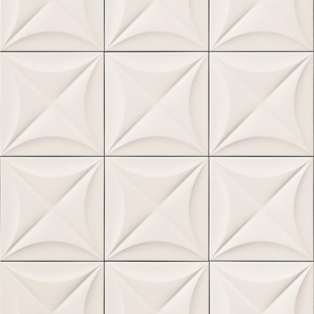 Multidimensional White Flower 3D Textured Ceramic Wall Tile