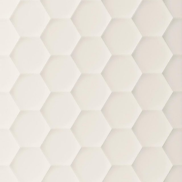 Multidimensional White Hexagon 3D Wall Tile