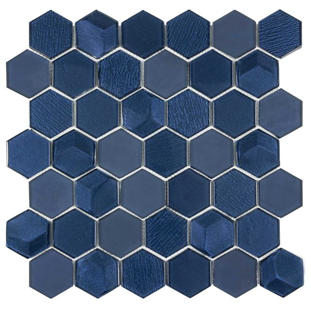 Outlast Hexagon Blue Glass Mosaic Tile