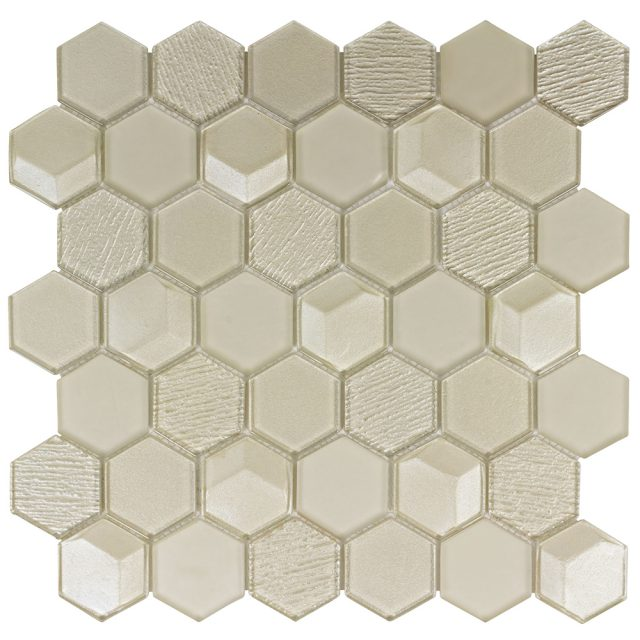 Outlast Hexagon Gold Glass Mosaic Tile