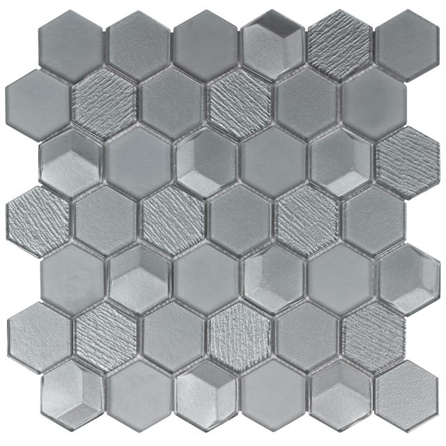 Outlast Hexagon Grey Glass Mosaic Tile