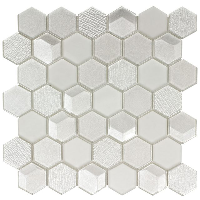Outlast Hexagon White Glass Mosaic Tile