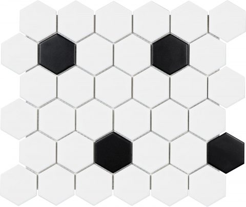 Ageless Black White 2 Inch Hexagon