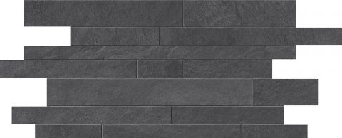 Cascade Black Random Strip Mosaic