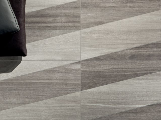 Signum Contemporary Wood-Look Porcelain Tiles - Decoro Trigonus Installation