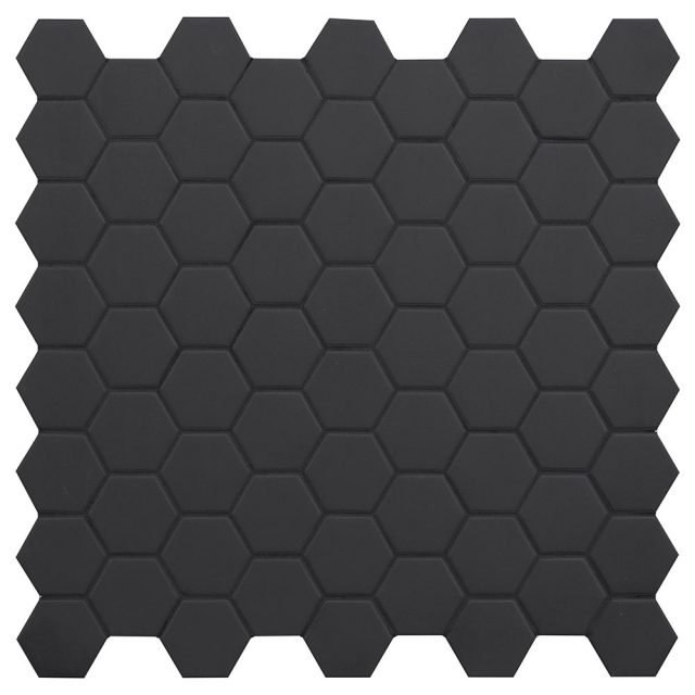 Placid Black Hex Mosaic Porcelain Tile