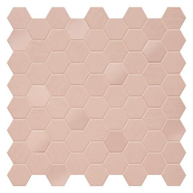 Placid Pink Mix Hex Mosaic Tile
